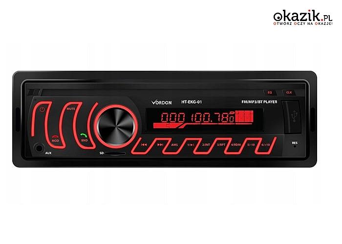 Radio samochodowe Vordon! Wyposażony pełnowymiarowe gniazdo USB oraz SD! Bluetooth! Czytelny wyświetlacz!