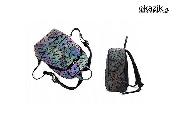 Plecak geometryczny holo! Zmienia kolory pod wpływem działających na niego świateł! Idealny na prezent!