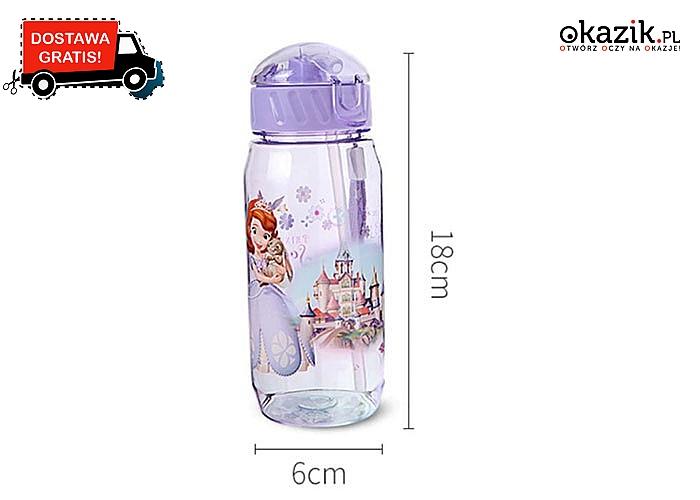 Bajkowa butelka dla dzieci! Disneyowski motyw, ze słomką, w pięciu kolorach do wyboru!