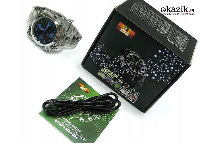 Elegancki zegarek dla wymagających! Z ukrytym dyktafonem i kamerą!