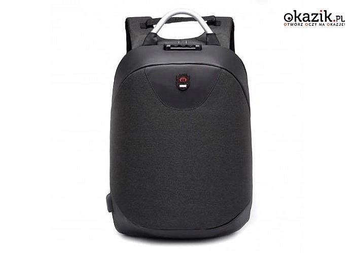 Twoje rzeczy będą bezpieczne! Antykradzieżowy plecak na kod oraz z portem USB do ładowania telefonu!