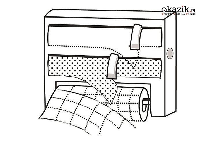 Praktyczny podajnik przeznaczony do folii przezroczystej, aluminiowej i ręcznika papierowego!