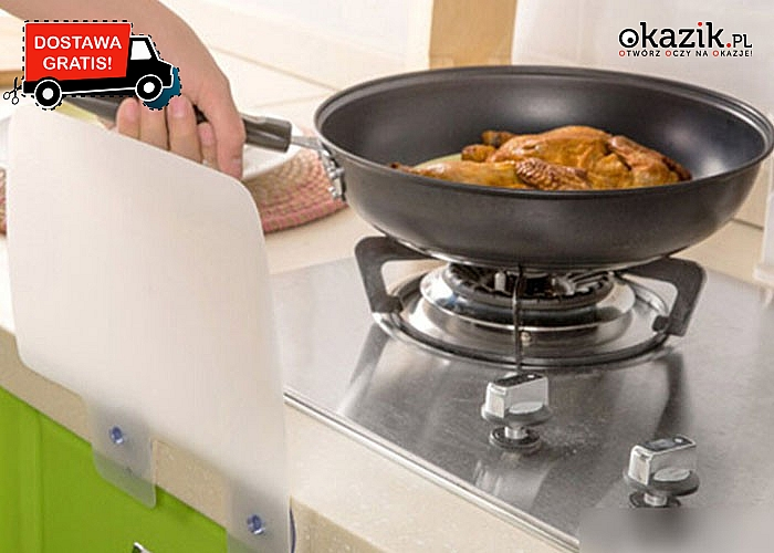 Osłona na urządzenia  kuchenne, chroniąca przed niepożądanymi kroplami wody oraz pryskającym tłuszczem