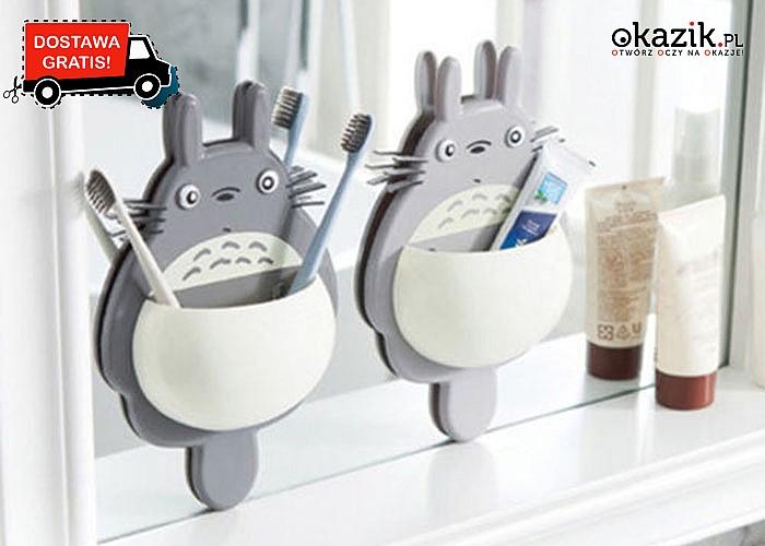 Praktyczny organizer łazienkowy, z przyssawkami do umieszczenia na ścianie lub lustrze