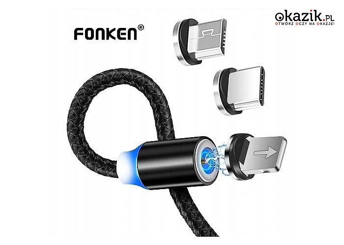 KABEL USB magnetyczny FONKEN 1M + microUSB 2.4A