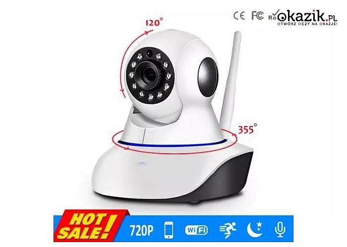 Bezprzewodowa kamera obrotowa z możliwością rozmowy, sprawdzi się w monitorowania pokoju dziecka jak i innych obiektów