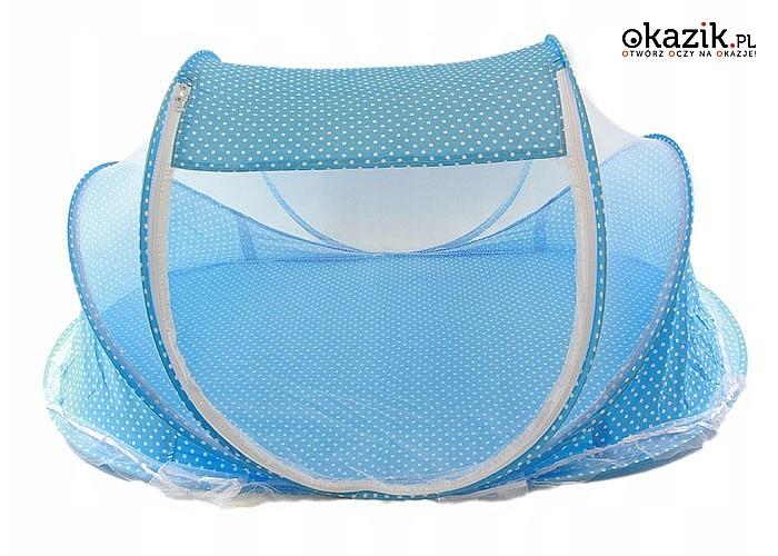 Samorozkładające się łóżeczko turystyczne z moskitierą. Kolor niebieski.