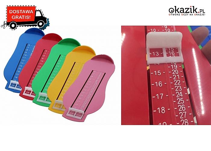 MIARKA DŁUGOŚCI STOPY dla dzieci w wieku 0-10 lat. 5 kolorów do wyboru i DARMOWA przesyłka.