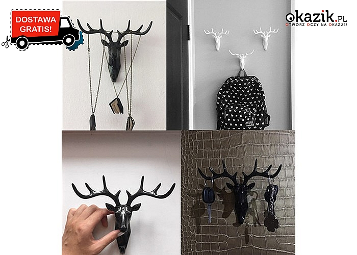 Wieszak w kształcie głowy jelenia! Świetna dekoracja dla Twojego mieszkania! 3 kolory do wyboru