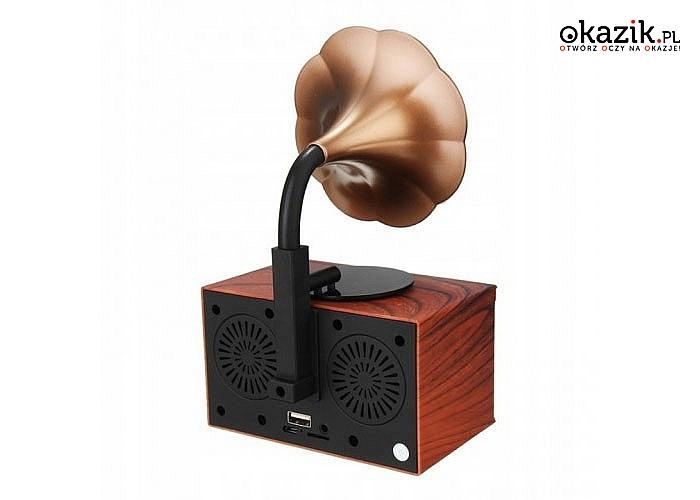 Bezprzewodowy głośnik retro, stylizowany na gramofon! Wiele możliwości korzystania!