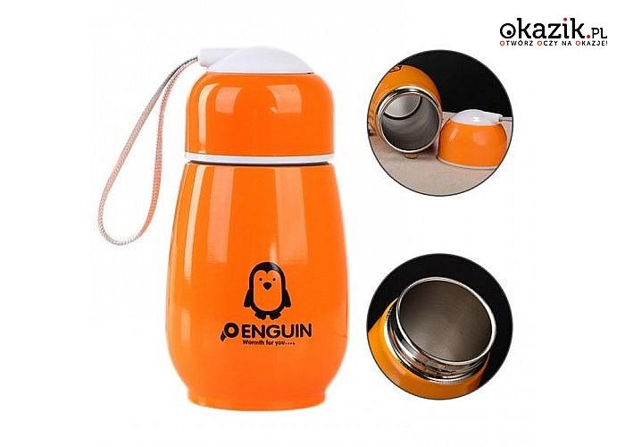 Twój napój już zawsze będzie miał odpowiednią temperaturę! Kubek termiczny – pingwin!