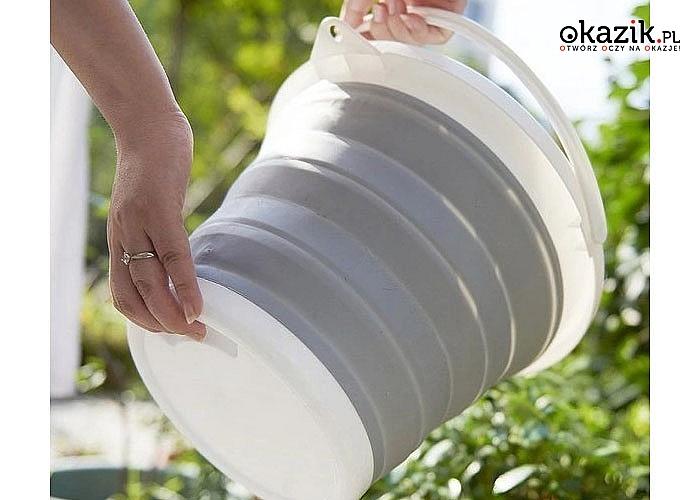 Składane, silikonowe wiaderko o pojemności 5 litrów z rączką.