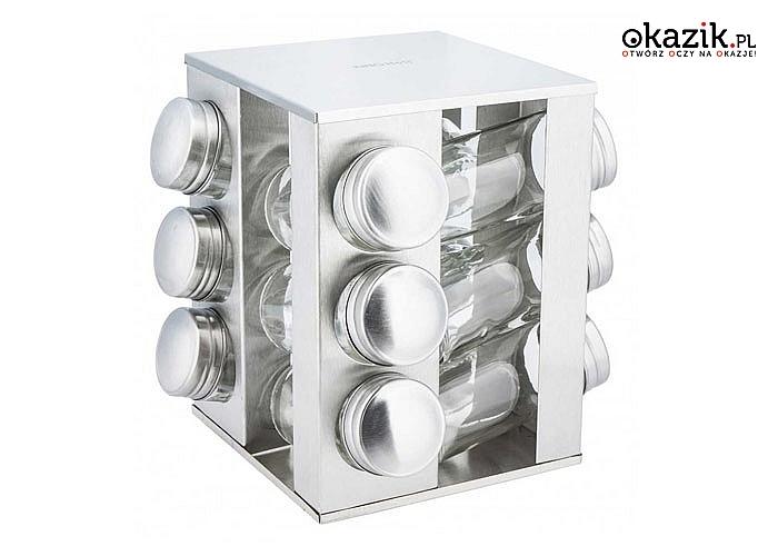 Obrotowy stojak na przyprawy wykonany ze stali nierdzewnej! Na 12 lub 16 zamykanych pojemników.