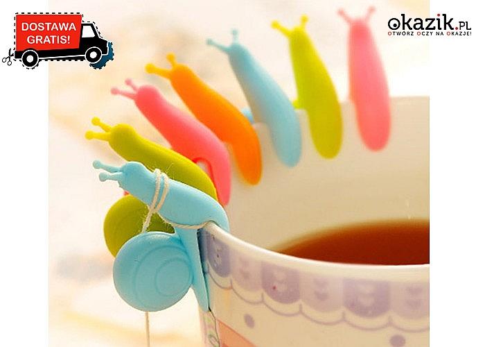 Zabawne ślimaczki - uchwyty na sznureczki od herbaty