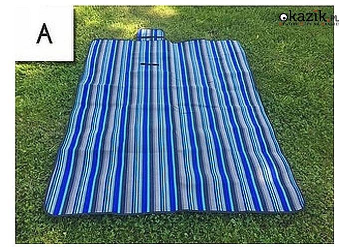 Praktyczny 2 -warstwowy koc plażowo - piknikowy, do sportu i rekreacji na wolnym powietrzu