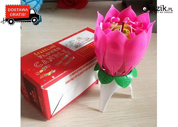 Grająca świeczka urodzinowa! Kwiat Lotosu! Zagra melodię urodzinową Happy Birthday!