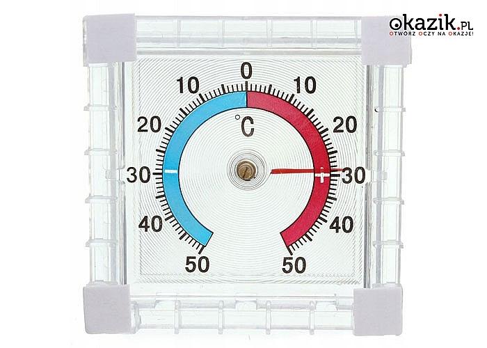 Przyklejany termometr zewnętrzny. Zakres temperatur od -50°C do +50°C!