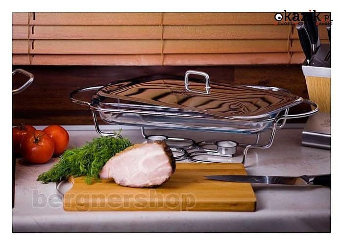Szklany podgrzewacz żaroodporny na metalowym stojaku. 3 modele do wyboru.