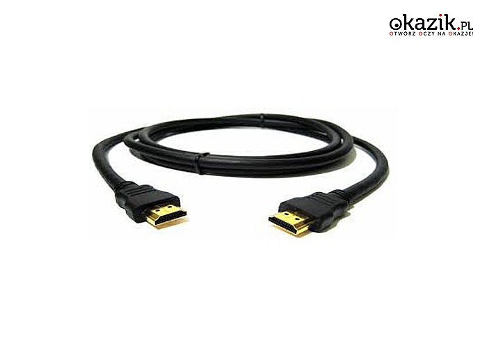 Kabel HDMI 1.4a najnowszej generacji! Umożliwia przesyłanie obrazu i dźwięku bez kompresji i utraty jakości!