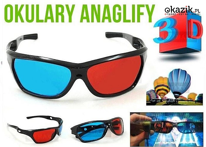 Zobacz niesamowitą głębię obrazu! Okulary 3D! Oglądaj trójwymiarowe filmy w zaciszu swojego domu!
