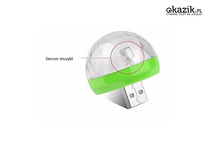 ŻARÓWKA LED DISCO NA USB/miniUSB! Niezwykłe efekty świetlne! Doskonała na imprezę! W zestawie adapter!