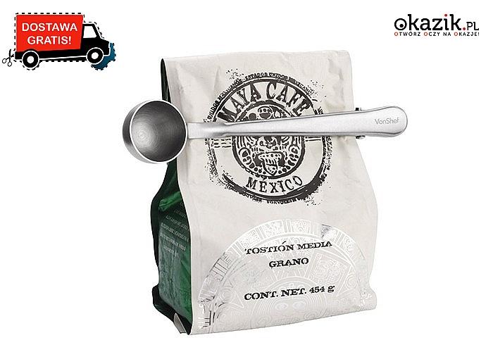 Łyżka z miarką i klipsem! Odmierz idealną ilość kawy i zabezpiecz opakowanie zachowując świeżość przez długi czas!