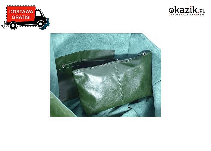 Skórzana torebka w komplecie z kosmetyczką. 4 kolory do wyboru