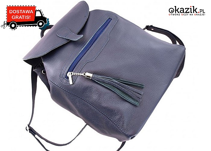 Idealny na co dzień! Plecak z naturalnej skóry licowej w kolorze czarnym, granatowym lub kasztanowym.