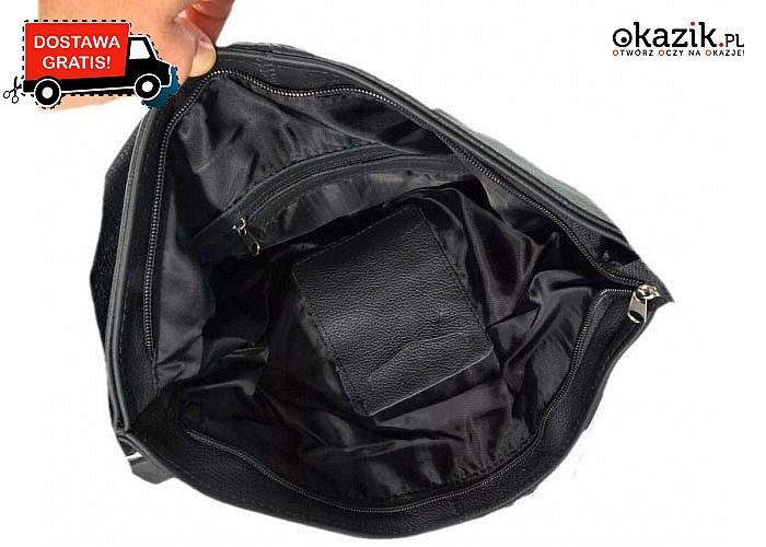 Idealne na każdą okazję! Skórzana torebka z ozdobnymi zamkami. Dwa kolory do wyboru