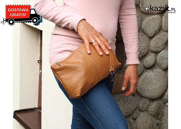 Absolutny must have! Skórzana torebka 2 w 1! Obszerna torba w komplecie z kosmetyczką