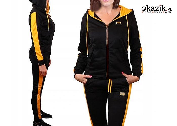 Czuj się świetnie w sportowym stylu! Damski dres z elementami w modnym kolorze!