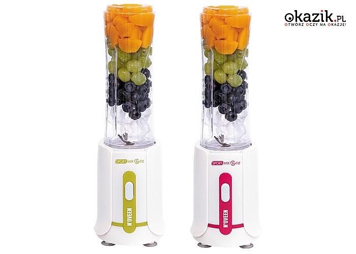 Blender sportowy Mix&Fit! W zestawie 2 butelki dostosowane do uchwytów na napoje w samochodzie oraz w rowerze!
