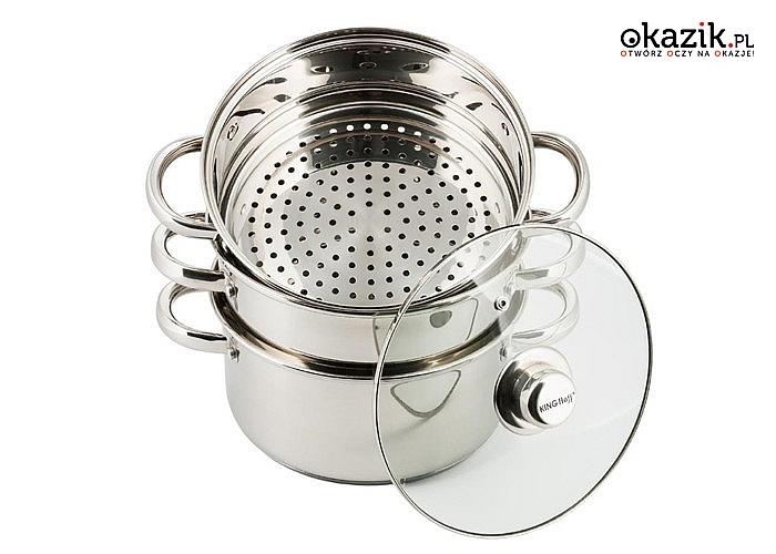 Komplet garnków ze stali nierdzewnej, przeznaczone do dietetycznego gotowania na parze
