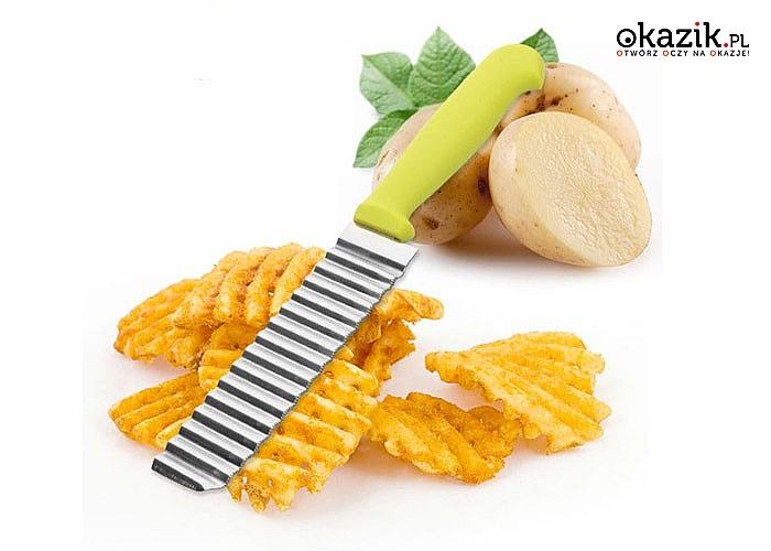 Karbowany nóż stalowy do ozdobnego krojenia warzyw, owoców