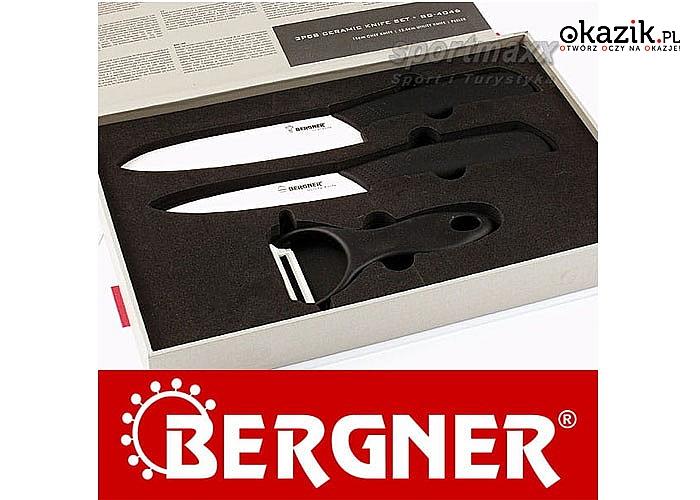 Komplet ekskluzywnych, ceramicznych noży kuchennych nie wymagających ostrzenia!  2 noże oraz obieraczka firmy Bergner!