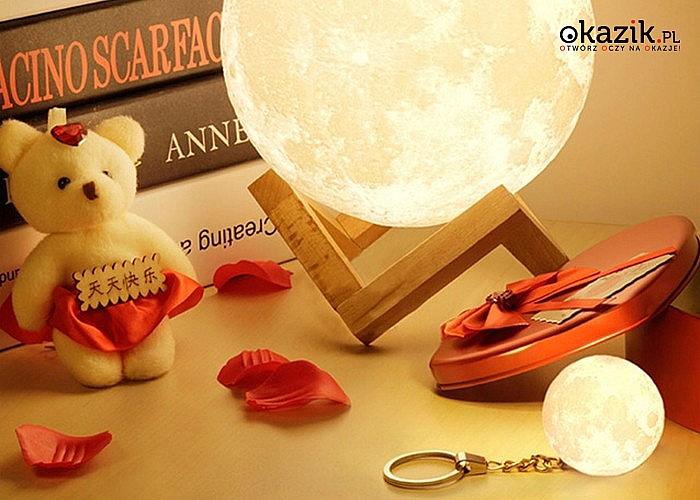 Rozświetl swój pokój! Lampka nocna – świecący księżyc 3D! Trzy kolory światła.