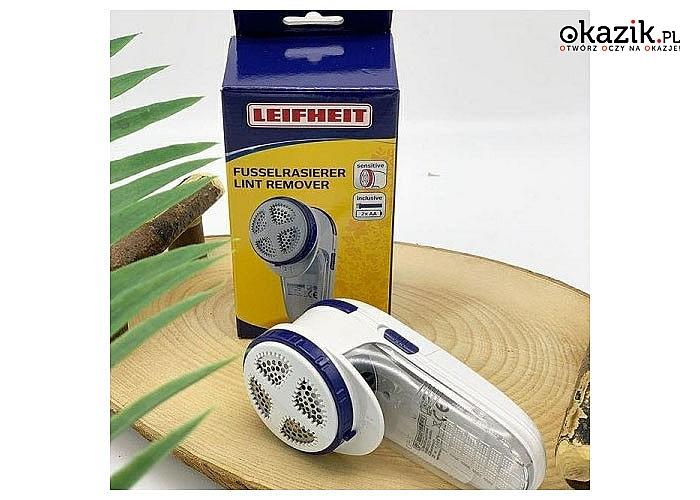 Elektryczna maszynka do golenia Leifheit skutecznie uwalnia odzież od irytującego puchu