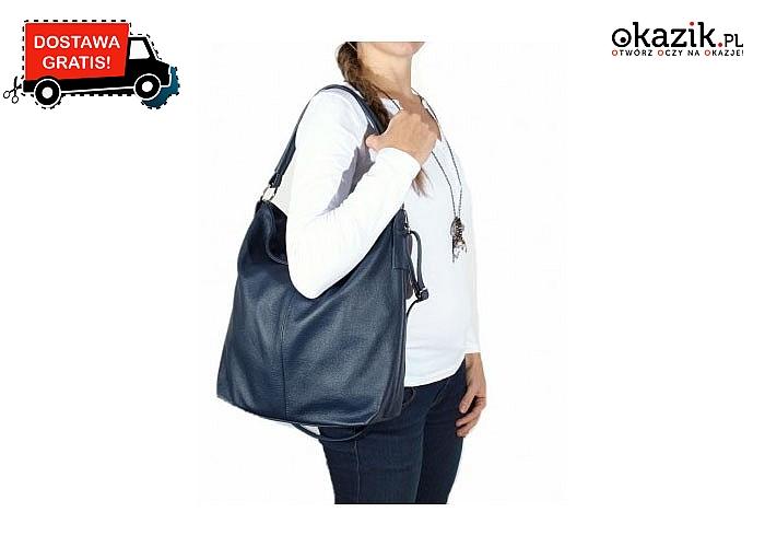 Modna i stylowa torebka typu worek z wysokiej jakości skóry naturalnej