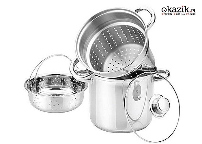 Garnek do gotowania makaronu z wkładem parowym. Przystosowany do wszystkich rodzajów kuchenek.