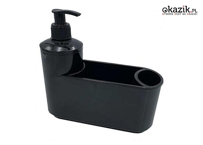 Dozownik płynu do mycia naczyń z pojemnikiem na gąbkę i szczotkę. Dwa kolory do wyboru