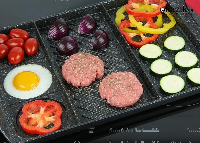 Płyta grillowa pokryta potrójną warstwą marmurową. Do używania na wszystkich rodzajach kuchenek oraz w piekarniku!