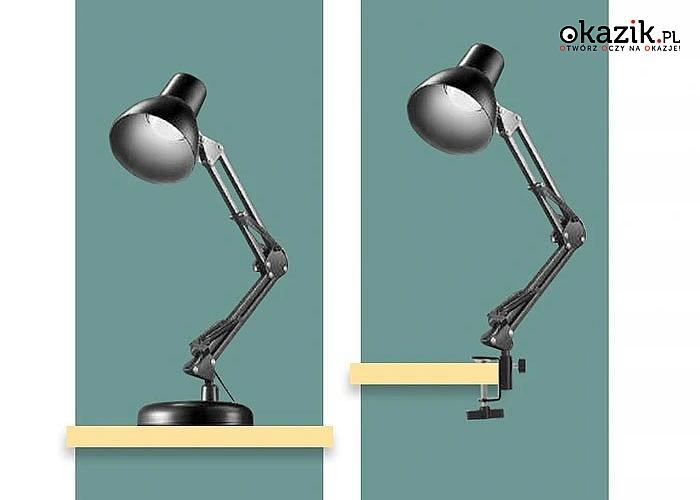 Lampka biurkowa kreślarska z żarówką LED ponadczasowy wygląd i zastosowanie