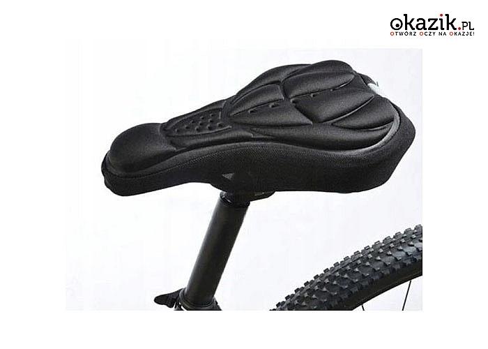 Nakładka na siodełko wypełniona specjalnym miękkim, amortyzującym żelem zapewni komfort podczas jazdy rowerem