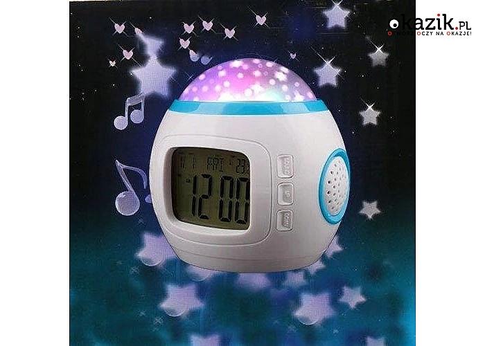 Budzik 'Nocne Niebo' z projektorem i odtwarzaczem melodii uprzyjemni wieczorne zasypianie oraz porannego wstawania