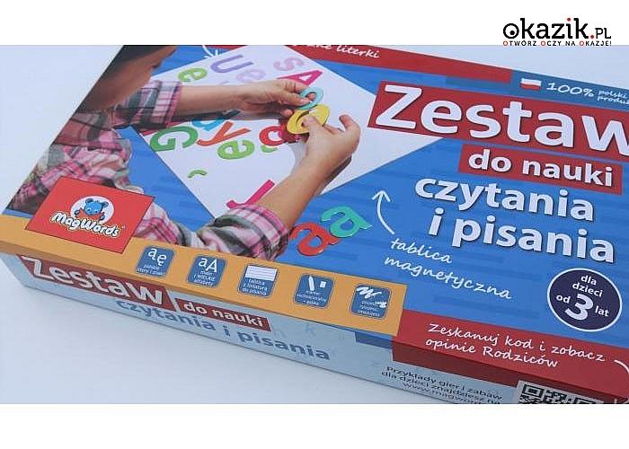 """Zestaw edukacyjny """"PIERWSZA KLASA"""" . Komplet małych i wielkich liter z tablicą"""
