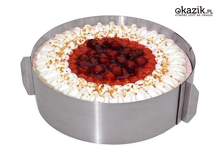 Obręcz do tortu stabilizuje tort, dzięki czemu zdobienie wypieków będzie niezwykle proste i dokładne