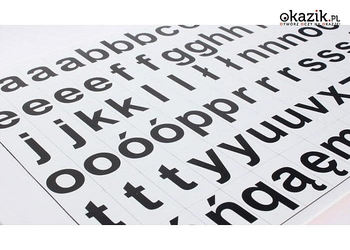 Alfabet magnetyczny, pomocny w nauce czytania. Do wyboru małe i wielkie litery