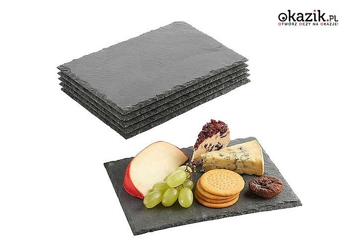 Talerz z naturalnego kamienia łupkowego do serwowania dań głównych, deserów i przekąsek.