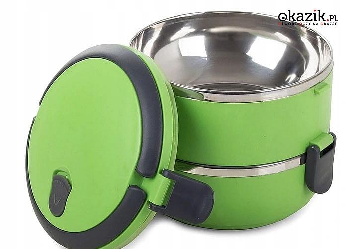 Pojemnik na żywność obiadowy lunch box idealny do zabierania posiłków do pracy i szkoły