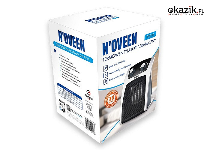 Termowentylator ceramiczny marki Noveen. Nieduże urządzenie pozwalające na ochłodzenie lub dogrzanie pomieszczeń